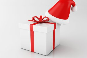 3d Gift box with santa hat