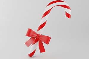 3d Sweet candy cane.