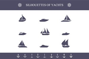 Ship sailing yachts and cruise boats