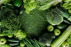top view of green vegetables and fru