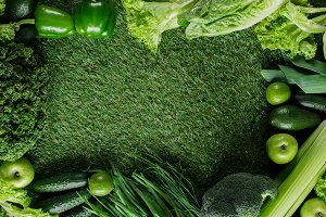top view of green vegetables on gras