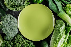 top view of green plate between gree