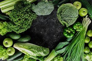 top view of green vegetables on dark