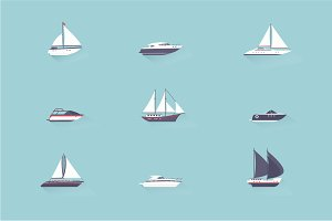 Boats and yacht icons