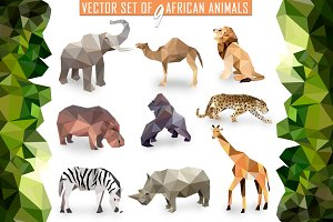 Vector set of African animals icons