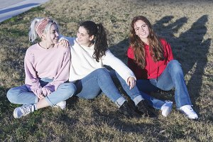 Happy teenage friends having fun in