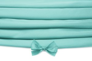 turquoise silk fabric with bow