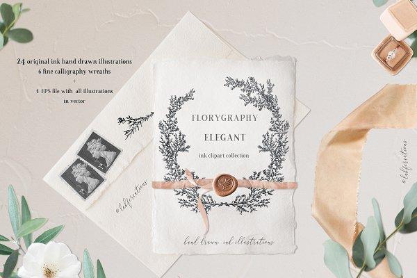 Elegant. Calligraphy ink wreaths