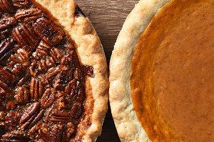 Pecan and Pumpkin Pies Overhead Clos