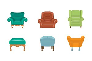 Chairs and armchairs set, colorful