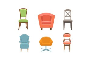 Chairs and armchairs set, retro and
