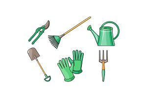 Gardening tools icons set, pruner