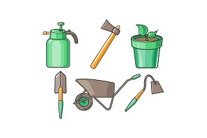 Gardening tools icons set, sprayer