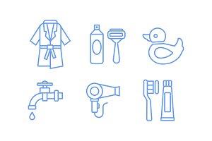 Bathroom icons set, bathrobe, razor