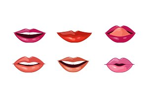 Female lips set, mouth with