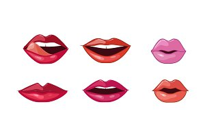 Female lips set, woman lips with