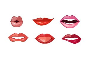 Woman lips set, female mouth with