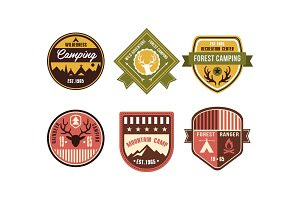 Wilderness camping retro logo