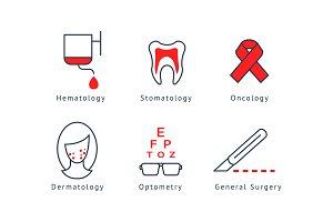 Medical specialization symbols set