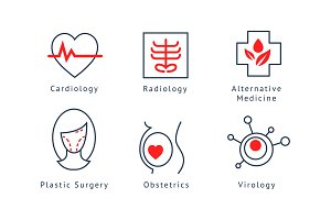 Medical specialization symbols set
