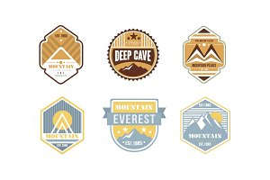 Mountain peaks logo design set