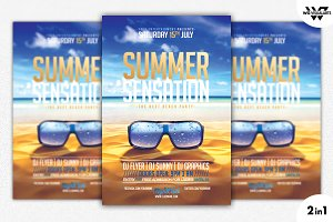 2in1 SUMMER BEACH Flyer Template