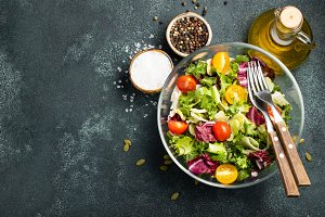 Healthy vegetable salad of fresh