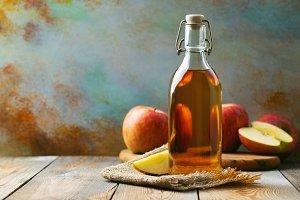 Apple vinegar. Bottle of apple