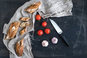 French baguette, tomatoes and garlic