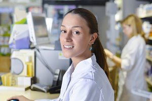 View of an attractive pharmacist at