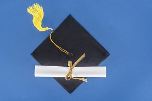 Graduation concept with diploma and