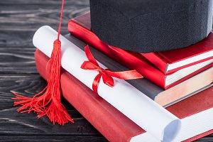 Graduation concept diploma and gradu