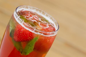 Lemonade with strawberries and mint.
