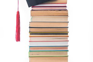 Graduation concept with stacked book