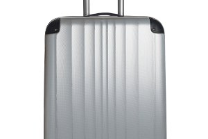 Silver Suitcase on a white backgroun