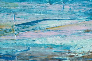 close up of blue brush strokes of oi