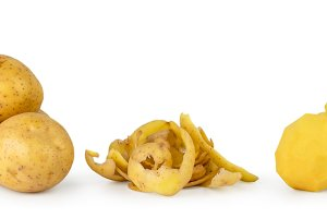 Bunch of potatoes, potato peels