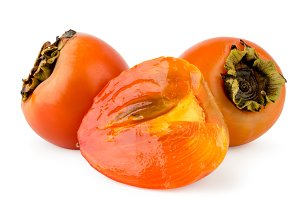 Ripe persimmon and half close-up