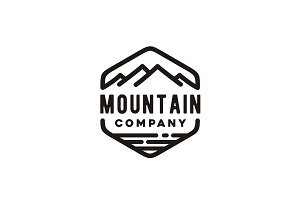 Outdoor Hipster Mountain Sea Logo