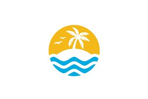 Island & Palm Tree for Vacation Logo