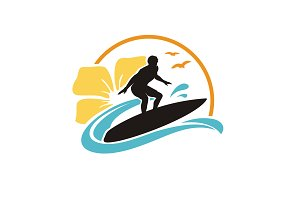 Surf Hawaii Beach logo design