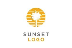 Sunset Palm Tree logo design