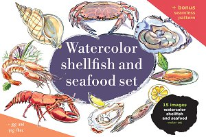 Watercolor shellfish set