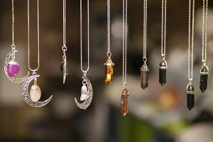 Necklaces with colored stones