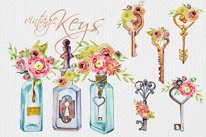 Watercolor Vintage Keys Clipart