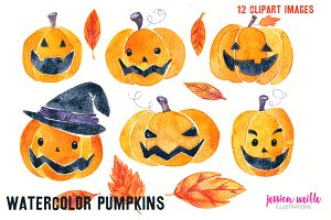 Watercolor Halloween Pumpkins & Leav