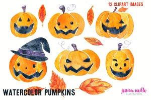 Watercolor Halloween Pumpkins & Leav