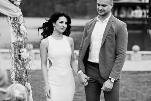 Young fashionable lovely couple agai