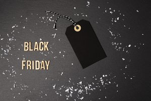 Black background and price tag