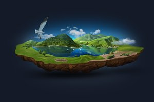 Floating Island Layered Illustration